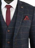 Men's Designer Marc Darcy Tweed Herringbone Vintage Jacket Tonal Checked Blazer