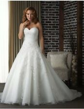 New White/Ivory Strapless Organza A Line Wedding Dress Bridal Gown Size 6-16 Uk
