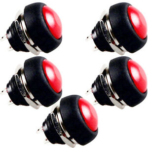 5 X 12mm Red Mini Round Toggle Switch Momentary Push Button Switch Sales