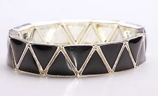 GOTHIC PIANO BLACK LADIES SILVER TRIANGLE STATEMENT BRACELET UNQIUE (ZX31)