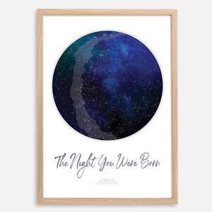 CUSTOM Star Map Night Sky Chart Constellation Print   Wedding Fathers Day Gift