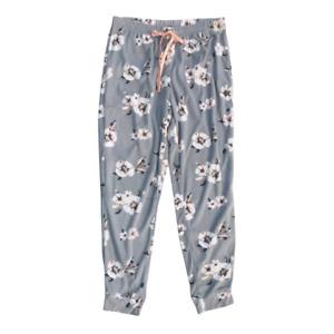 TAHARI Women's Floral Print Soft Jogger Hem Pajama Pants, Grey, Size M, NWOT