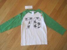 Boy GYMBOREE SOCCER 76 WHITE AND GREEN LONG SLEEVE SHIRT NWT 4