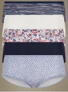 NEW 5 PACK MICROFIBRE NO VPL LOW RISE SHORTS SIZE 8  MARKS & SPENCER BLUE MIX