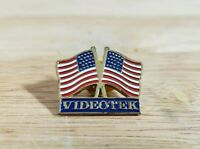VIDEOTEK UNITED STATES FLAGS PIN Advertising Vintage Small Badge