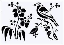 BIRD & FLOWERS FLEXIBLE MYLAR RE USEABLE STENCIL - A5 - IMAGE APPROX 12 x 9cm