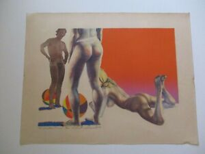 VINTAGE RETRO NUDE LITHOGRAPH EXPRESSIONIST SIGNED CHUCK CHESNUT? 1970'S POP ART