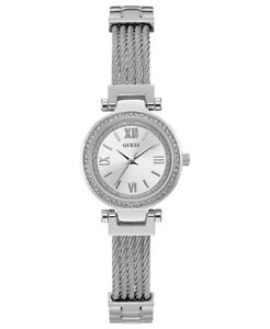 New Authentic GUESS U1009L1 bound cables Stainless Steel Bracelet Watch 27mm NWT