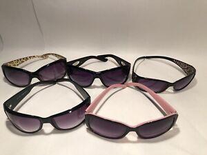 Women's Designer Style Sunglasses Lot Of 5 - Black / Pink / Leopard / Diamond