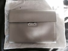 New BALLY Light Gray Leather Attaché Briefcase Business Clutch Portfolio Bag Key