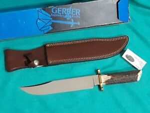 GERBER BOWIE UTILITY- VINTAGE-LIMITED EDITION-STAG-LEATHER SHEATH W/ BOX #5970
