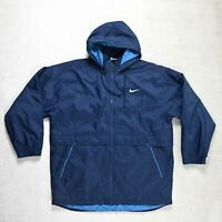 Mens NIKE waterproof Padded Jacket Size LARGE Hooded Short Coat Parka Navy