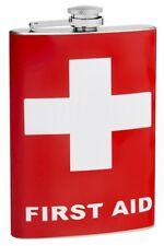 8oz First Aid Hip Flask, Vinyl Wrap