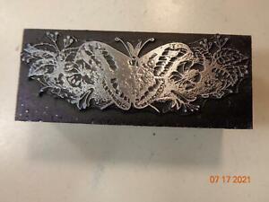 Printing Letterpress Printer Block Decorative Butterfly In Flowers Print Cut