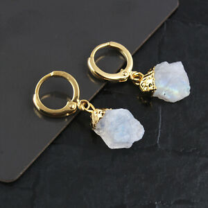 June Birthstone Rainbow Moonstone Yellow Gold Plated Clip-On Earring Jewelry