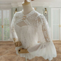 Women Floral Lace Hollow Out Blouse Tops Ruffle Lolita Gothic Flare Sleeve Fairy