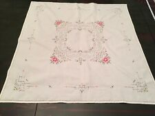 Vintage Hand Embroidered With Cutwork Pink And Green Card Table Tablecloth