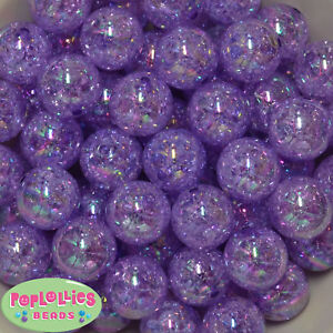 20mm Purple Crackle Style Acrylic Chunky Bubblegum Beads 20 pc