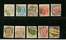 Denmark #25-34 (DE550) Complete 1875-9 Numerals, Used, FFVF, CV$269.00