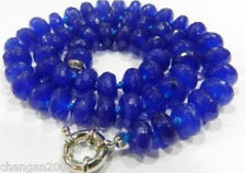 Natural 5x8mm Faceted Blue Sapphire Gemstone Beads Necklace 18''