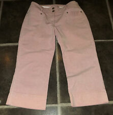 "LADIES NEXT PETITE PINK ¾  CORDUROY TROUSERS PANTS UK 10 EUR 38 WAIST 30"" 76cm"