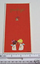 #E186- Vintage Fravessi Xmas Greeting Card By Bridget Cute Angels Kissing
