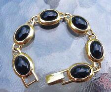 Estate Napier Gold Tone Black Glass Cabochon Link Bracelet 7 inches