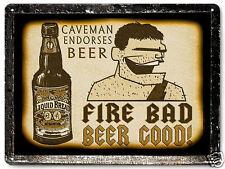 FUNNY METAL BEER SIGN  Caveman MANCAVE vintage style bar tavern Wall decor 384