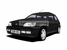 FORD FIESTA RS1800 CAR ART PRINT. ADD YOUR REG DETAILS, CHOOSE CAR COLOUR