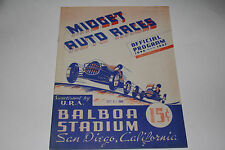 Midget Auto Races Program, San Diego Balboa Stadium, Oct 23 1946, Original