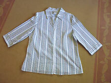 LADIES WHITE STRIPED SHORT SLEEVE POLYCOTTON TOP BY MILLERS - SIZE 14 -CHEAP