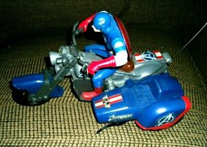 Rare Blue version Captain America W/Sidecar Avengers Marvel RC Motorcycle/Remote