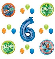Disney Planes Party Supplies 6th Birthday Balloon Bouquet Decorations (Blue 6)