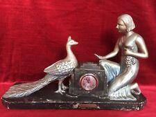 Statue Pendule Ancienne ART DECO Signée TOGNELLI PRÉVENANCE Femme Paon Plâtre