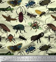 Soimoi Fabric Beetle,Butterfly & Honey Bee Insects Print Fabric by Meter-IN-546F