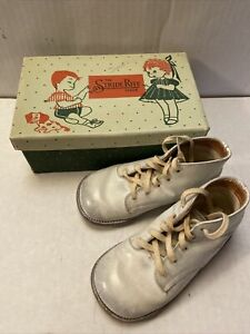 Vintage Stride Rite Baby Walking Shoes White Leather 6D A0870 Original Box