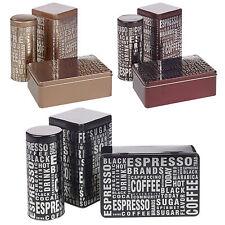 3 Piece Tea Coffee Sugar Metal Tins Set Food Kitchen Pantry Storage Tin Canister