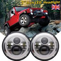 2Pcs 7 Inch LED Headlights Round Halo Angel Eyes Jeep 97-2017 Wrangler JK LJ TJ