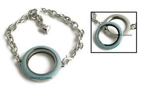 30mm Floating Charm Memory Locket Bracelet With Blue Enamel Screw Top Lid