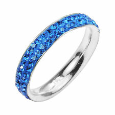 Blue Crystal Elegance Eternity Band Sterling Silver Ring - 7.5