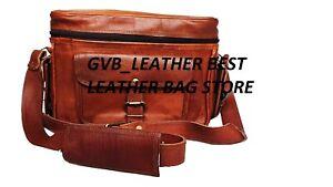 """11"""" Genuine Goat Leather DSLR Camera Bag Vintage Briefcase Laptop Lens Satchel"""