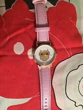 OWL FACE FASHION GIRLS WATCH WITH GENUINE PINK LEATHER BAND