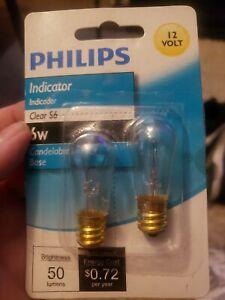 416099 Philips 6-Watt S6 12-Volt Candelabra Base Indicator Light Bulb