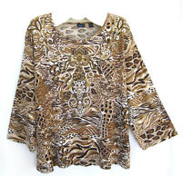 "Westbound Woman 3X Top T Shirt 53"" Bust Animal Print Beaded Sequins Plus Size 3X"