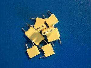 THOMPSON BOX POLYESTER CAPACITOR   100nf / 63v  QTY =10 off