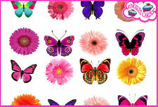 24 X BUTTERFLY & FLOWERS EDIBLE CUPCAKE TOPPERS CAKE RICE PAPER BIRTHDAY FB2