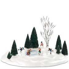 Animated Skating Pond Dept 56 Village Accessories 801130 Christmas set snow Z