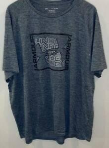 Under Armour The Tech Tee Men's Blue/Gray Black Short Sleeve Logo Shirt EUC 3XL