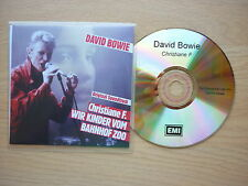 DAVID BOWIE Christiane F. Promo CDR acetate with picture sleeve EMI 2001