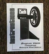 Snap On WBM200 Motorcycle Wheel Balancer Manual & Field Service Guide Spin
